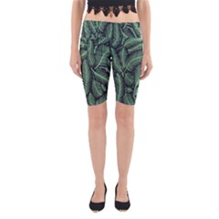 Coconut Leaves Summer Green Yoga Cropped Leggings by Mariart