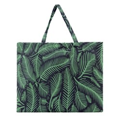 Coconut Leaves Summer Green Zipper Large Tote Bag by Mariart