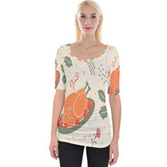 Happy Thanksgiving Chicken Bird Flower Floral Pumpkin Sunflower Wide Neckline Tee
