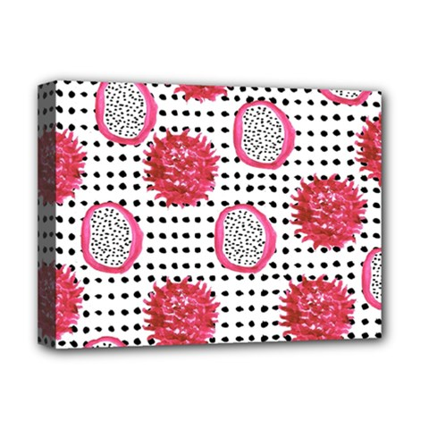 Fruit Patterns Bouffants Broken Hearts Dragon Polka Dots Red Black Deluxe Canvas 16  X 12   by Mariart