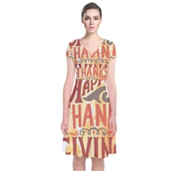 Happy Thanksgiving Sign Short Sleeve Front Wrap Dress