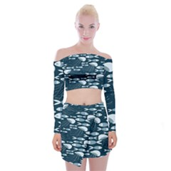 Jellyfish Fish Cartoon Sea Seaworld Off Shoulder Top With Skirt Set