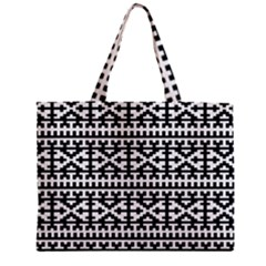 Model Traditional Draperie Line Black White Zipper Mini Tote Bag by Mariart