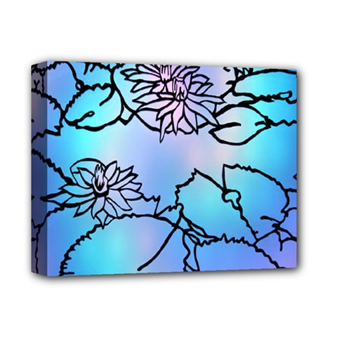 Lotus Flower Wall Purple Blue Deluxe Canvas 14  X 11  by Mariart