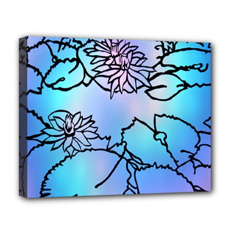 Lotus Flower Wall Purple Blue Deluxe Canvas 20  X 16   by Mariart