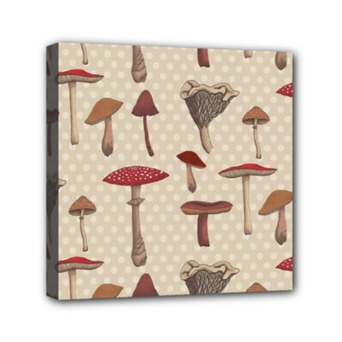 Mushroom Madness Red Grey Brown Polka Dots Mini Canvas 6  X 6