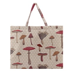 Mushroom Madness Red Grey Brown Polka Dots Zipper Large Tote Bag by Mariart