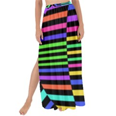 Optical Illusion Line Wave Chevron Rainbow Colorfull Maxi Chiffon Tie Up Sarong