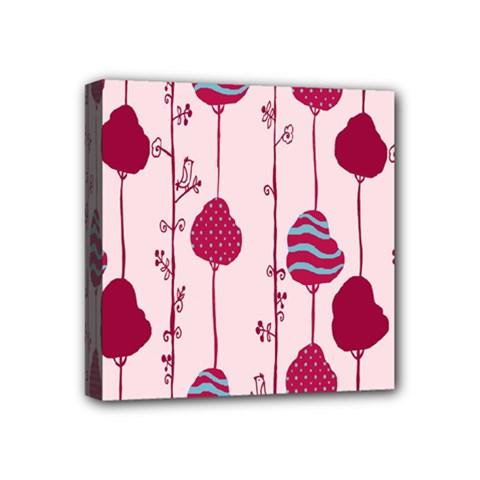 Original Tree Bird Leaf Flower Floral Pink Wave Chevron Blue Polka Dots Mini Canvas 4  X 4  by Mariart
