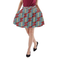 Mushroom Madness Red Grey Polka Dots A Line Pocket Skirt by Mariart