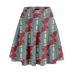 Mushroom Madness Red Grey Polka Dots High Waist Skirt by Mariart