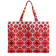 Plaid Red Star Flower Floral Fabric Zipper Mini Tote Bag by Mariart