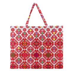 Plaid Red Star Flower Floral Fabric Zipper Large Tote Bag by Mariart