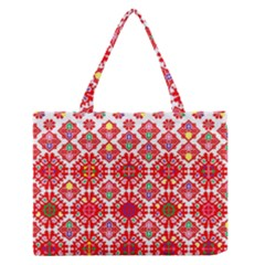Plaid Red Star Flower Floral Fabric Zipper Medium Tote Bag by Mariart