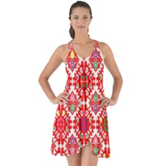 Plaid Red Star Flower Floral Fabric Show Some Back Chiffon Dress