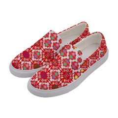Plaid Red Star Flower Floral Fabric Women s Canvas Slip Ons by Mariart