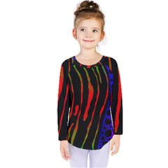 Frog Spectrum Polka Line Wave Rainbow Kids  Long Sleeve Tee