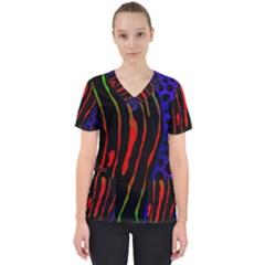 Frog Spectrum Polka Line Wave Rainbow Scrub Top