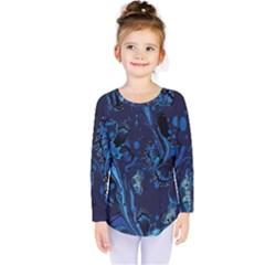 Pattern Butterfly Blue Stone Kids  Long Sleeve Tee