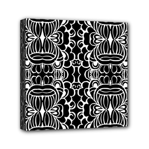 Psychedelic Pattern Flower Black Mini Canvas 6  X 6  by Mariart