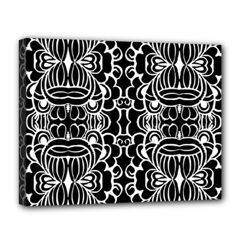 Psychedelic Pattern Flower Black Canvas 14  X 11  by Mariart