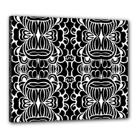 Psychedelic Pattern Flower Black Canvas 24  X 20  by Mariart