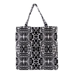 Psychedelic Pattern Flower Black Grocery Tote Bag by Mariart