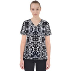 Psychedelic Pattern Flower Black Scrub Top