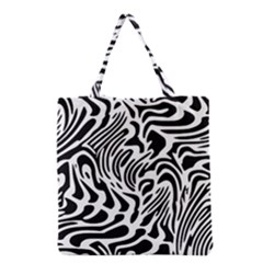 Psychedelic Zebra Black White Line Grocery Tote Bag by Mariart