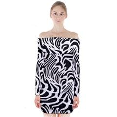 Psychedelic Zebra Black White Line Long Sleeve Off Shoulder Dress by Mariart
