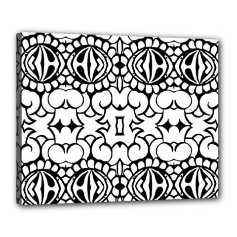 Psychedelic Pattern Flower Crown Black Flower Canvas 20  X 16  by Mariart