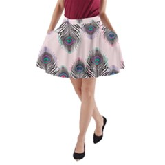Peacock Feather Pattern Pink Love Heart A Line Pocket Skirt by Mariart