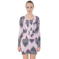 Peacock Feather Pattern Pink Love Heart V Neck Bodycon Long Sleeve Dress