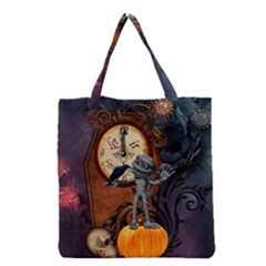 Funny Mummy With Skulls, Crow And Pumpkin Grocery Tote Bag by FantasyWorld7