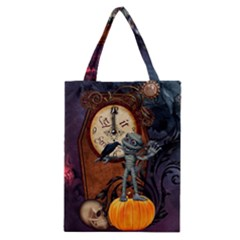 Funny Mummy With Skulls, Crow And Pumpkin Classic Tote Bag by FantasyWorld7