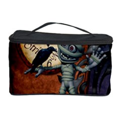 Funny Mummy With Skulls, Crow And Pumpkin Cosmetic Storage Case by FantasyWorld7