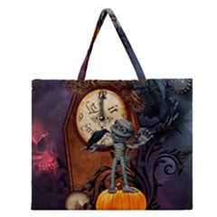 Funny Mummy With Skulls, Crow And Pumpkin Zipper Large Tote Bag by FantasyWorld7