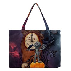 Funny Mummy With Skulls, Crow And Pumpkin Medium Tote Bag by FantasyWorld7