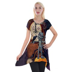 Funny Mummy With Skulls, Crow And Pumpkin Short Sleeve Side Drop Tunic by FantasyWorld7