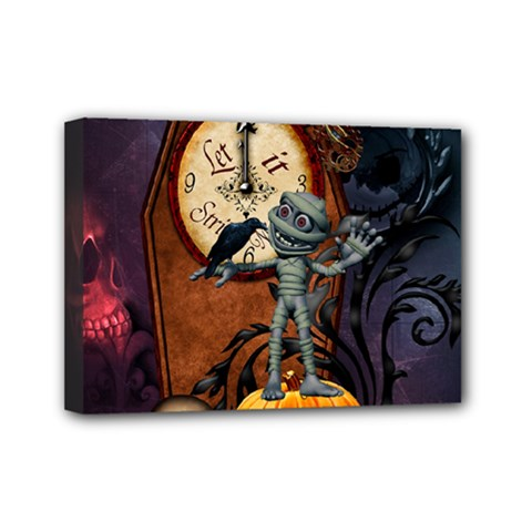 Funny Mummy With Skulls, Crow And Pumpkin Mini Canvas 7  X 5  by FantasyWorld7