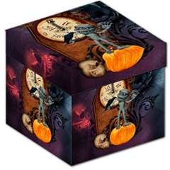 Funny Mummy With Skulls, Crow And Pumpkin Storage Stool 12   by FantasyWorld7