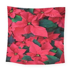 Red Poinsettia Flower Square Tapestry (large) by Mariart
