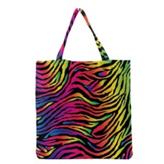 Rainbow Zebra Grocery Tote Bag by Mariart