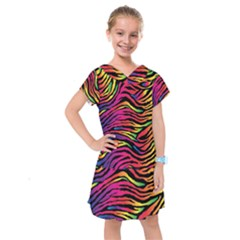 Rainbow Zebra Kids  Drop Waist Dress