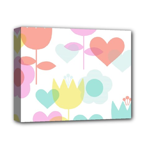 Tulip Lotus Sunflower Flower Floral Staer Love Pink Red Blue Green Deluxe Canvas 14  X 11  by Mariart