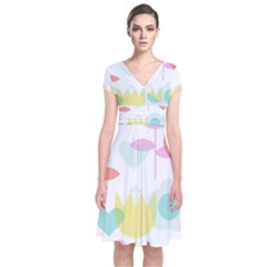 Tulip Lotus Sunflower Flower Floral Staer Love Pink Red Blue Green Short Sleeve Front Wrap Dress by Mariart