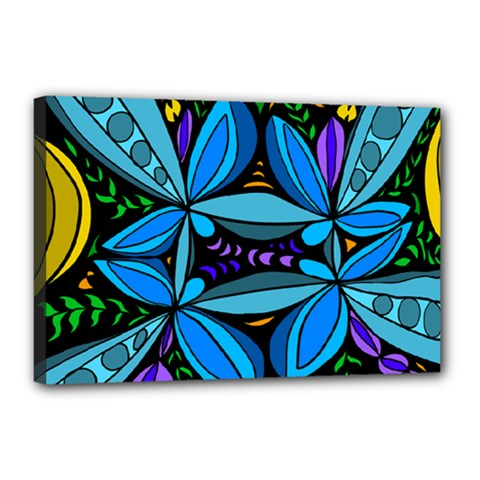 Star Polka Natural Blue Yellow Flower Floral Canvas 18  X 12  by Mariart