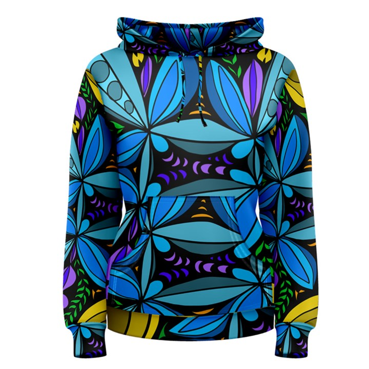 Star Polka Natural Blue Yellow Flower Floral Women s Pullover Hoodie