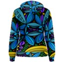 Star Polka Natural Blue Yellow Flower Floral Women s Pullover Hoodie View2