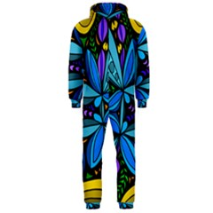 Star Polka Natural Blue Yellow Flower Floral Hooded Jumpsuit (men)  by Mariart